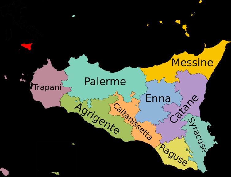 Carte Sicile Italie
